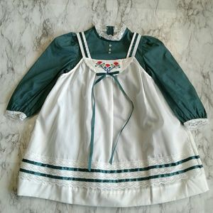 VTG Ruth of California Green/White Pinafore Dress